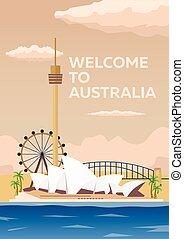 Australia poster. Welcome to Australia. Sydney. Modern flat design.