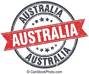 Australia red round grunge vintage ribbon stamp