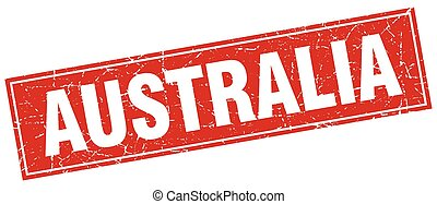 Australia red square grunge vintage isolated stamp