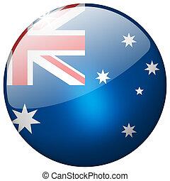 Australia Round Glass Button