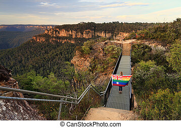 Australia Said Yes Woman crossing bridge with Flag