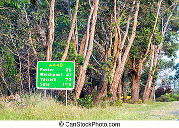 australia, señal, -, promontorio, wilsons, victoria, camino