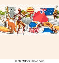 Australia seamless pattern. Australian traditional sticker...