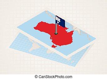 Australia selected on map with isometric flag of Australia.