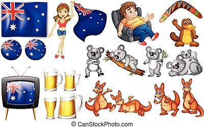 Australia set - Australian theme set with flags and animals
