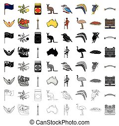 Australia set icons in cartoon style. Big collection of Australia vector symbol stock illustration