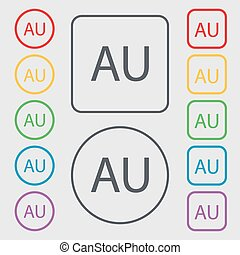 australia sign icon. Set of colored buttons. Vector