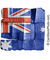 Australia sign on old paper.
