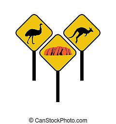Australia signs illustration - Australia signs on the white...