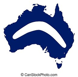 Australia Silhouette With Boomerang - Silhouette map of...