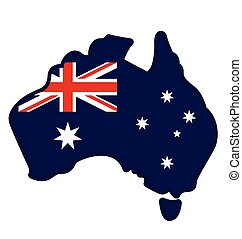 australia simplified flag map icon emblem vector
