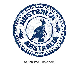 Australia stamp - Grunge rubber stamp with kangaroo shape...