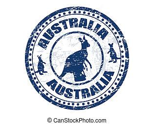 Australia stamp - Grunge rubber stamp with kangaroo shape ...