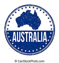 Australia stamp - Australia grunge rubber stamp on white...
