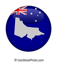 Australia state of Victoria map button on a white background...