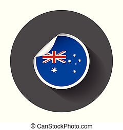 Australia sticker with flag. Vector illustration with long shadow.