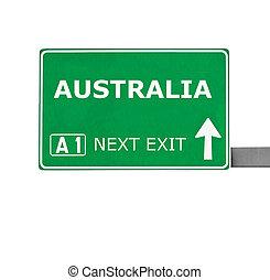 australia, straße zeichen, freigestellt, weiß