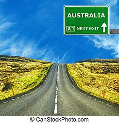 australia, straße zeichen, gegen, klar, blauer himmel