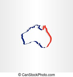 australia stylized map icon vector symbol