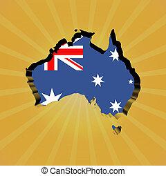 Australia sunburst map with flag illustration