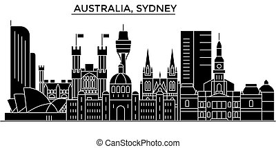 Australia, Sydney architecture vector city skyline, travel...