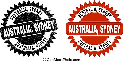 AUSTRALIA, SYDNEY Black Rosette Stamp Seal with Corroded Surface