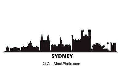 Australia, Sydney city skyline isolated vector illustration. Australia, Sydney travel black cityscape