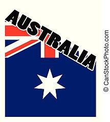 Australia Text with blue Flag shadow isolated