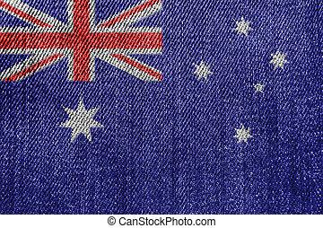 Australia Textile Industry Or Politics Concept: Australian Flag Denim Jeans