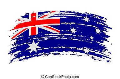 Australia torn flag in grunge brush stroke, vector
