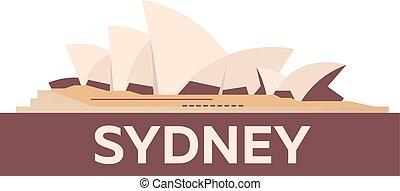 Australia. Tourism. Travelling illustration. Modern flat design. Sydney travel.