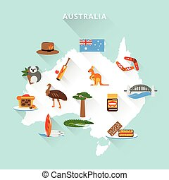Australia tourist map concept with travel food sport nature...