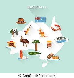 Australia tourist map concept with travel food sport nature ...