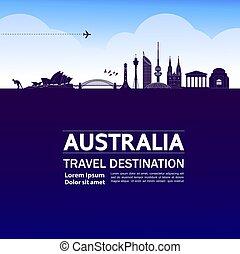 Australia travel destination grand vector illustration.