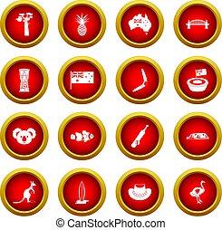 Australia travel icon red circle set