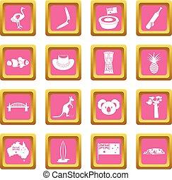 Australia travel icons pink