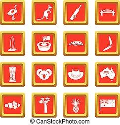 Australia travel icons set red
