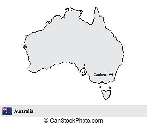 Australia vector map with the capital city of Canberra