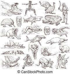 australia, viaggiare, -, mano, disegnato, pacco