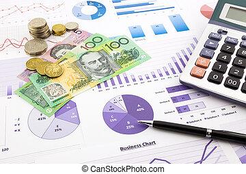 australia, waluta, na, wykresy, pieniężny planistyczny, i,...