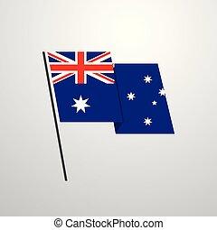 Australia waving Flag design vector background