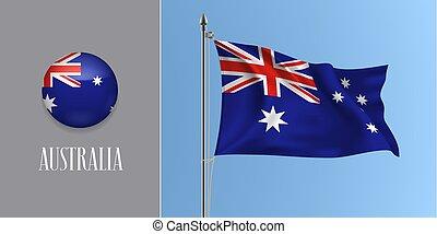 Australia waving flag on flagpole and round icon vector illustration