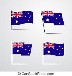 Australia waving Flag set design vector