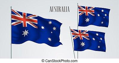 Australia waving flag set of vector illustration