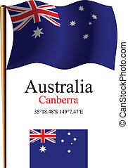 australia wavy flag and coordinates