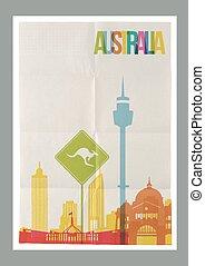 australia, weinlese, reise, skyline, plakat, wahrzeichen