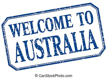 Australia - welcome blue vintage isolated label