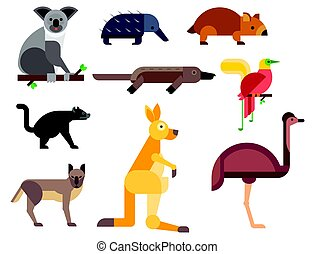 Australia wild animals cartoon popular nature characters flat style and australian mammal aussie native forest collection vector illustration.