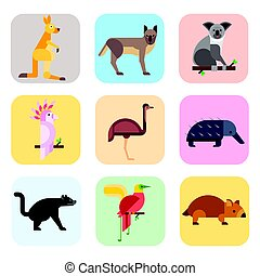 Australia wild animals cartoon popular nature characters flat style and australian mammal aussie native forest collection vector illustration.