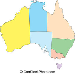 Australia with Administrative Districts - Australia,...